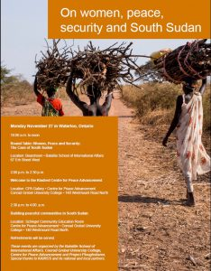 Project Ploughshares: On women, peace, security and South Sudan @  Boardroom • Balsillie School of International Affairs